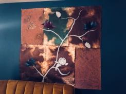 Magnolienast, Acyrl auf Glanzpapier, 120x120cm